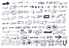 Doodles de la flecha Imágenes de archivo libres de regalías
