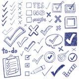 Doodles de la marca de cotejo Foto de archivo libre de regalías
