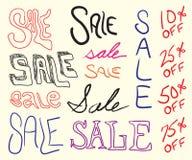 Doodles de la muestra de la venta Fotografía de archivo libre de regalías