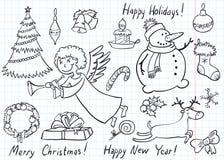 Doodles de la Navidad Foto de archivo libre de regalías