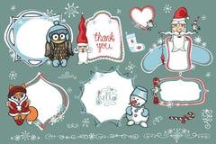 Doodles de la Navidad Etiquetas, insignias con santa, animal, Imagen de archivo libre de regalías
