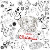 Doodles de la Navidad fijados libre illustration