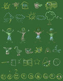 Doodles de la pizarra Foto de archivo libre de regalías