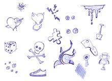 Doodles de la pluma y de la tinta Fotos de archivo