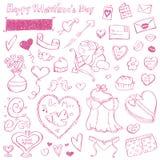 Doodles de la tarjeta del día de San Valentín Imagen de archivo libre de regalías