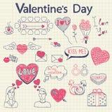 Doodles de la tarjeta del día de San Valentín fijados Imagenes de archivo