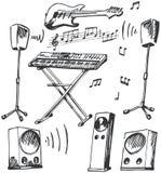 Doodles de los instrumentos musicales y de los altavoces Fotos de archivo libres de regalías