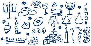 Doodles de los símbolos de Hanukkah Imagen de archivo libre de regalías