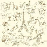 Doodles de París Imágenes de archivo libres de regalías