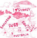 Doodles de Sydney e de Austrália Foto de Stock Royalty Free