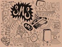 Doodles de Texting del teléfono celular Fotos de archivo