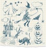 Doodles de Víspera de Todos los Santos stock de ilustración