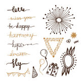 Doodles decor elements. Hanwritten lettering set Stock Images