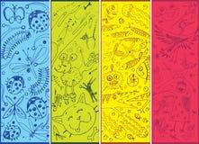 Doodles degli animali disegnati a mano   Immagini Stock