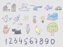 Doodles dei bambini nei colori pallidi Immagine Stock Libera da Diritti