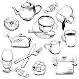 Doodles dei piatti Immagine Stock