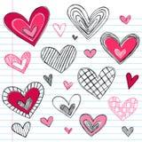 Doodles del amor del día de tarjeta del día de San Valentín de los corazones Imagen de archivo