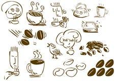 Doodles del caffè Fotografia Stock Libera da Diritti