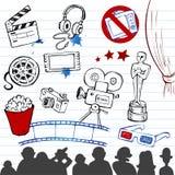Doodles del cine Imagen de archivo libre de regalías