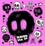 Doodles del cranio Fotografia Stock