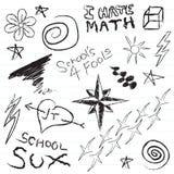Doodles del cuaderno de la escuela Imagen de archivo libre de regalías