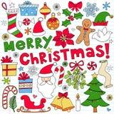 Doodles del cuaderno de la Feliz Navidad Fotografía de archivo