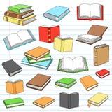 Doodles del cuaderno de la lectura de la biblioteca de los libros fijados Fotos de archivo