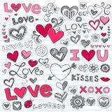 Doodles del día de tarjeta del día de San Valentín de los corazones del amor Imagenes de archivo