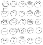 Doodles del Emoticon Fotos de archivo