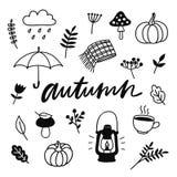 Doodles del otoño Sistema dibujado mano de bosquejos stock de ilustración