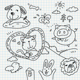 Doodles del papel del cuaderno Foto de archivo libre de regalías