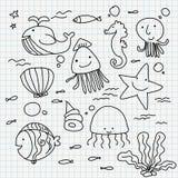 Doodles del papel del cuaderno Fotografía de archivo