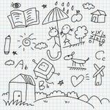 Doodles del papel del cuaderno Imagenes de archivo