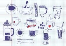 Doodles del tè e del caffè Immagini Stock Libere da Diritti