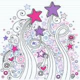 Doodles del taccuino della stella in linea documento Fotografia Stock