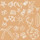 Doodles del tema del verano Ilustración del Vector