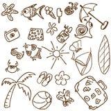 Doodles del tema del verano Stock de ilustración