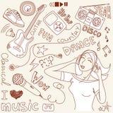 Doodles del vector de la música Fotografía de archivo libre de regalías