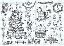 Doodles del vector del vintage. La Navidad, invierno Foto de archivo libre de regalías