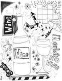 Doodles del vino stock de ilustración