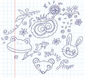 Doodles dell'animale e floreali Immagini Stock