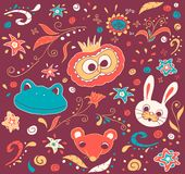 Doodles dell'animale e floreali Immagine Stock