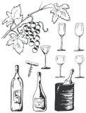 Doodles dell'insieme del vino Fotografia Stock Libera da Diritti