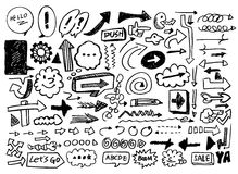Doodles della freccia Immagini Stock