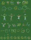 Doodles della lavagna Fotografia Stock Libera da Diritti