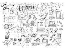 Doodles desenhados mão do negócio Fotografia de Stock
