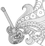 Doodles design of guitar for coloring book for adult Royalty Free Stock Photos