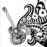 Doodles design of Guitar for coloring book for adult, poster, banner and so on - Stock Vector Stock Photo