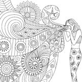 Doodles design of a photographer girl taking photo for coloring book for adult Stock Photo