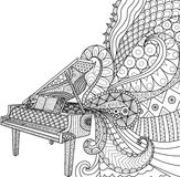 Doodles design of piano for coloring book for adult, poster, cards, design element, T- Shirt graphic and so on - Stock  Royalty Free Stock Images